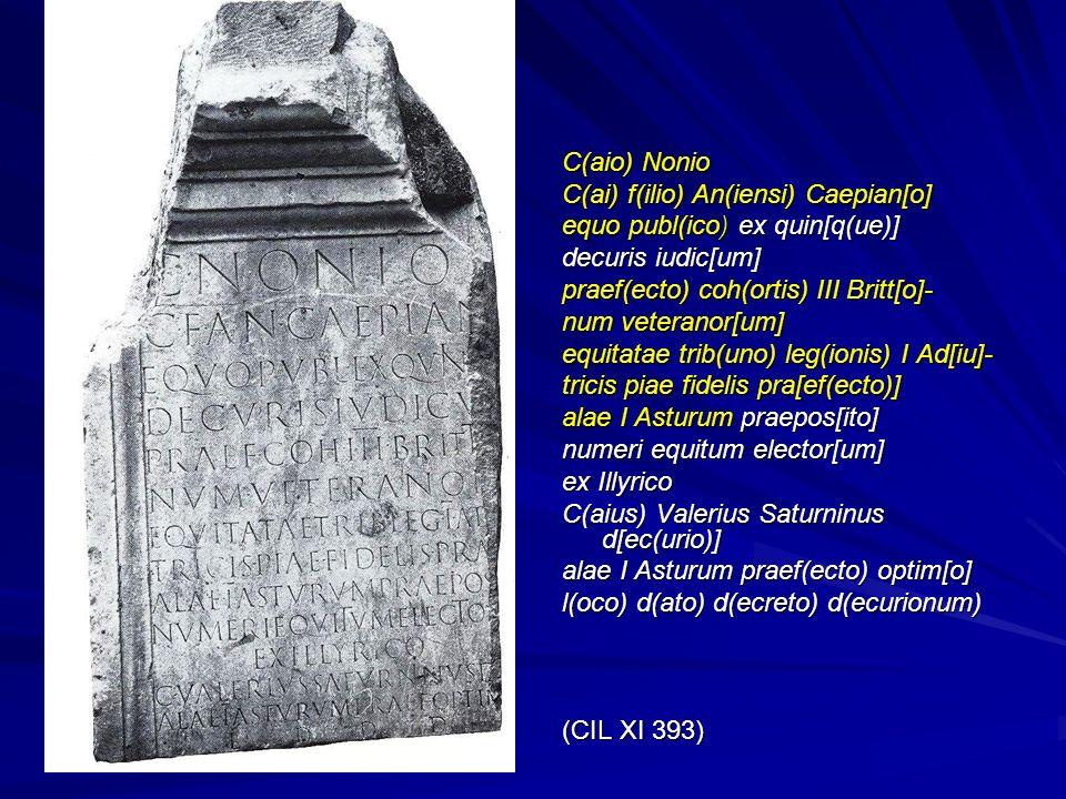 C(aio) Nonio C(ai) f(ilio) An(iensi) Caepian[o] equo publ(ico) ex quin[q(ue)] decuris iudic[um] praef(ecto) coh(ortis) III Britt[o]-